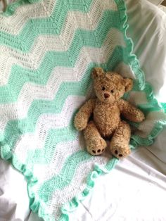 Beautiful Crochet Baby Blanket  Mint and by CornerCraftCreations, $50.00