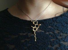THC molecule necklace pendant in gold.  Buy: http://shpws.me/qGYX  Tetrahydrocannabinol (THC) is the main psychoactive substance foun…