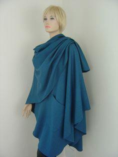 Capes & Ponchos - Cape Poncho Petrol Merino und Cashmere - ein Designerstück von hofatelier-mode bei DaWanda