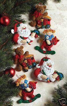 Bucilla In The Workshop ~ 6 Pce. Felt Christmas Ornament Kit #86167, Santa, Toys