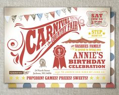 Carnival birthday invitation // Carnival party // by peartreespace, $70.00