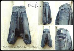 Hier ist ein Modell von Harems Hose, das ich erfunden habe. Ich trenne völlig Jeans ab, ich öffne ihre Nähen und ich füge ein Durcheinander von HosenstückenJeans hinzu, die in unterschiedlichen Tönen denim zerfasert sind. Er ist niedrige Größe, mit 2 Kneifen im Rücken, ein Reißverschluss