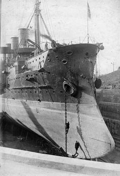 """Gromoboi (ca. was an armoured cruiser of the Russian fleet that took part in the Russo-Japanese War and WWI. It was built in St. Petersburg under the improved project of the cruiser """"Russia"""". Its construction began in the cruiser was put into service in Naval History, Military History, Army Vehicles, Navy Ships, Submarines, Model Ships, Historical Pictures, War Machine, Water Crafts"""