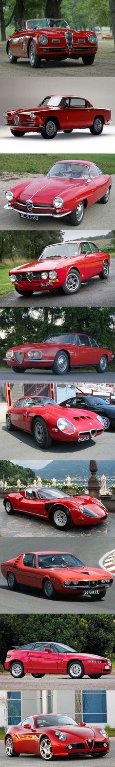 Alfa Romeo - supercar / 1949 6C 2500 / 1950 1900 Sprint / 1959 Giulietta SS / 1960 2000 Sprint / 1961 2600 Sprint Zagato / 1963 Giulia TZ / 1967 33 Stradale / 1970 Montreal / 1989 SZ / 2007 8C Competizione / red / Italy / #list #alfaromeogiulietta