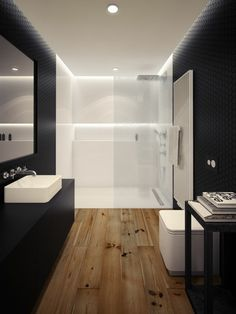 super modern bathroom interior design with contrasting colors The post super modern bathroom interior design with contrasting colors appeared first on Badezimmer ideen. Apartment Bathroom Design, Bathroom Interior Design, Modern Interior Design, Bedroom Apartment, Apartment Ideas, White Bathroom, Small Bathroom, Bathroom Ideas, Bathroom Designs