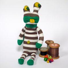 Sock Monster Alien - Mint, White & Mocha Stripes