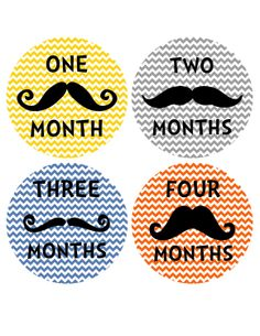 Mustache and Chevron Monthly Onesie Stickers... Perfect Baby Shower for the Trendy Couple and Baby Boy...Mustache Baby. $9.00, via Etsy.