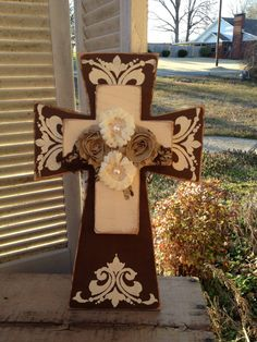 Shabby Chic Brown and Ivory Stacked Cross Hanger With Fabric Flower Embellishments Cross Home Decor on Etsy, $28.00