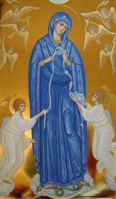 Our Lady who unties the knots in our lives! Byzantine Icons, Byzantine Art, Blessed Mother Mary, Blessed Virgin Mary, Religious Icons, Religious Art, Immaculée Conception, Hail Holy Queen, Church Icon
