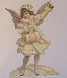 VICTORIAN GERMAN LARGE SNOW CHRISTMAS CHILD W BELL  ANGEL  DIECUT SCRAPS EF 5107