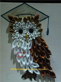 Owl kanzashi Ribbon Art, Ribbon Crafts, Flower Crafts, Kanzashi Tutorial, Cloth Flowers, Fabric Flowers, Ribbon Projects, Quilled Paper Art, Fabric Flower Tutorial