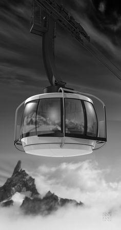 Pendelbahnkabine am Mont Blanc (Monte Bianco). Die Kabine dreht sich während der Fahrt um die eigene Achse.  www.natdesign.at #cablecar #funivie #transportationdesign #natdesign