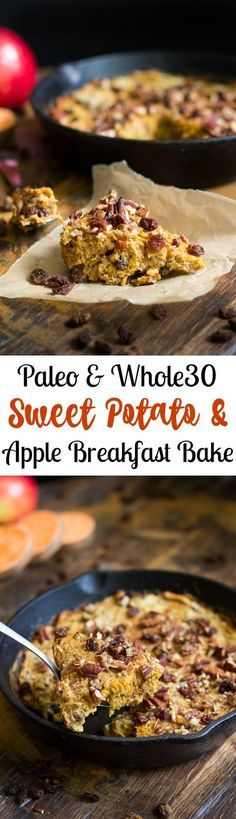 Paleo and sweet potato apple breakfast bake that's a naturally sweet, simple, comforting and healthy one-skillet breakfast (Healthy Breakfast Recipes) Apple Breakfast, Whole 30 Breakfast, Breakfast Bake, Breakfast Recipes, Breakfast Casserole, Breakfast Healthy, Breakfast Potatoes, Avacado Breakfast, Sweet Breakfast