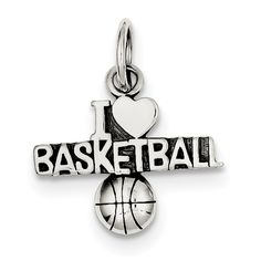 Sterling Silver Antique I (heart) Basketball Charm