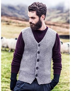 Rib Knit Irish Aran Vest