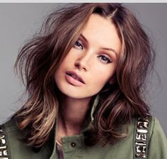 hair--except with bangs in the middle. but love this length and color for summertime.