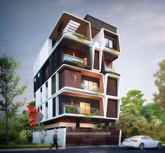 Apartment building complex architects 30 Ideas apartment is part of 3 storey house design - 3 Storey House Design, Duplex House Design, House Front Design, Modern House Design, Modern Architecture Design, Facade Design, Facade Architecture, Exterior Design, 3d Architectural Rendering