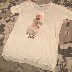 WILDFOX PUP TEE BRAND NEW Brand new with tags this off white pup tee dressed to impress! Baggy fit Wildfox Tops