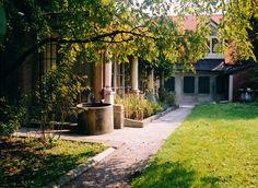 Garden of Plecnik's house. Slovenia, Prague, Sidewalk, Architecture, Building, Garden, House, Walkway, Home