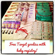 Every time you make a Target baby registry you get sets like this :). You can also ask for them at the customer service desk :). They come with a travel pack of Huggies wipes, 2 newborn Huggies diapers, 1 Avent bottle, 2 breast milk storage bags, a set of breast pads, 1 healing lotion, 1 newborn pacifier, $25 Target photo card, a new baby checklist, and coupons! They even have a Target Starbucks coupon as well!!