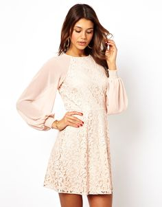 long sleeves Lace Shift Dress with Blouson Sleeves