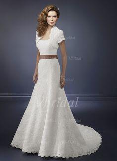 Wedding Dresses - $213.81 - A-Line/Princess Strapless Chapel Train Lace Wedding Dress With Sash (00205001297)