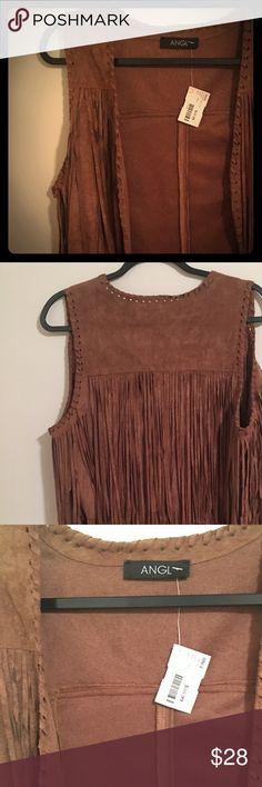 Faux suede fringe vest New with tags adorable brown faux suede fringe vest size large ANGL Jackets & Coats Vests