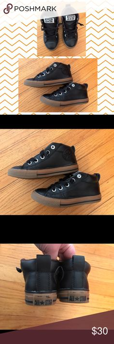 Boys leather converse Great condition lightly used boys converse leather shoes. No tie laces. 🚨some minor glue spots from the factory no big deal-see pix🚨 lightly used. Please view all pix for condition. Lots of life left in these! Converse Shoes Sneakers