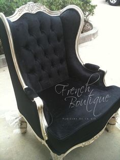 FRENCH BOUTIQUE | Orielles Wingback Chair Silver Leaf Frame; most wonderful and magnificent chair in all of existence...