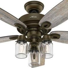in bedroom? Hunter Crown Canyon 52 in. Indoor Regal Bronze Ceiling Fan 53331 at The Home Depot Dining Room Ceiling Fan, Ceiling Fan In Kitchen, Ceiling Decor, Kitchen Lighting, Farmhouse Ceiling Fans, Farmhouse Decor, Bedroom Ceiling Fans, Porch Ceiling, Farmhouse Lighting