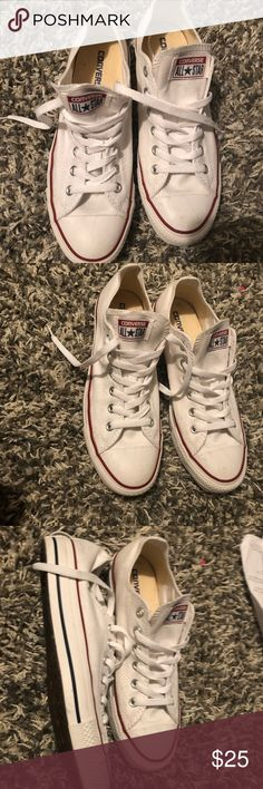 Converse White low tops I got them a few years ago and I accidentally went a size up and then bought them in a men's size 😂. No ones ever worn them there's scuff marks just from being thrown around. It's not bad though Converse Shoes Sneakers