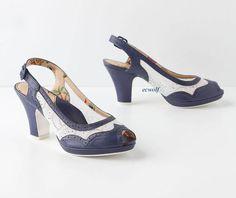 New Miss L Fire Anthropologie Dorie Slingbacks Heels Shoes Navy Pumps 39 US 8 | eBay