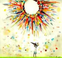 Colorful Japanese illustration. | Girl. Sun. Rainbow of colors.