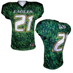 07680077fbf Sublimated Football Jersey. Fully sublimated football jersey in digital  camouflage. Custom Football, Football