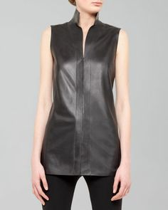 Sleeveless Leather Snap Tunic by Akris at Neiman Marcus.