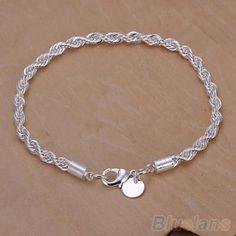 Elegant Silver Plated Twisted Rope Design Bracelet Bangle