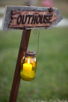 Outhouse sign.