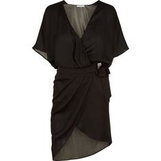 La Perla Beyond the Beach Wrap Dress in Silk Georgette ($1,190) ❤ liked on Polyvore featuring dresses, wrap front dress, plunge dress, short wrap dress, beach dresses and plunge wrap dress