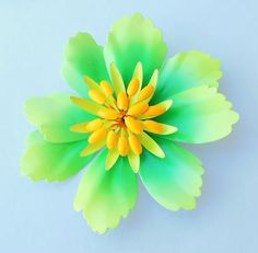 Bright Lemon Lime Retro Flower Brooch by normajeanscloset on Etsy, $24.99
