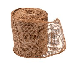 Burlap Ribbon - OrientalTrading.com - for the banquet eating hall, wrapped around white gladiolas