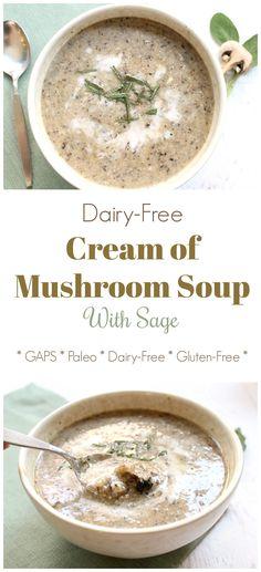 Creamed Mushrooms, Stuffed Mushrooms, Dairy Free Cream, Keto Cream, Sage Recipes, Mushroom Soup Recipes, Mushroom Recipe, Pureed Soup, Cooking