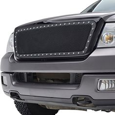 E-Autogrilles 04-08 Ford F-150 F150 Rivet All Black Stainless Steel Wire Mesh Packaged Grille (46-0207). For product info go to:  https://www.caraccessoriesonlinemarket.com/e-autogrilles-04-08-ford-f-150-f150-rivet-all-black-stainless-steel-wire-mesh-packaged-grille-46-0207/