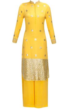 Yellow metallic floral bootis embroidered kurta and palazzos set available only at Pernia's Pop Up Shop.