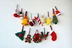 Christmas Ornaments - 14 Christmas Tree Decorations - Crochet Tree Santa Reindeer Star Angel Snowman Candy Cane - CROCHET PATTERN No.160