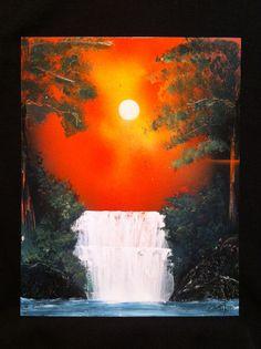 Spray paint art - sunset waterfall