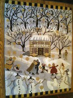 large primitive hooked rug snowman design christmas winter decor 29 - Christmas Rugs Large