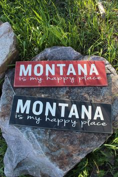 My Happy Place Wood Signs - Red or Black from The Montana Way