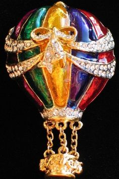 BLUE GREEN PURPLE RED YELLOW FLYING HOT AIR BALLOON PIN BROOCH JEWELRY DANGLES 2 #Unbranded
