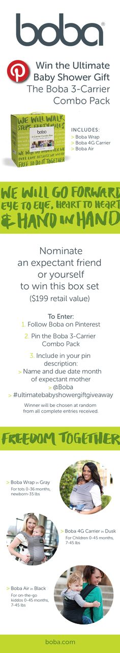 Win three baby carriers this week! @Boba is giving away this box set on Pinterest. Enter now through Thursday, September 25 (midnight). Winner will be chosen at random from all complete entries received, and announced on Pinterest on Friday. #giveaway #bobalove #babywearing