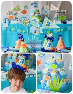 Fish Birthday Party. Don't need to go this far but some of this would be cute.